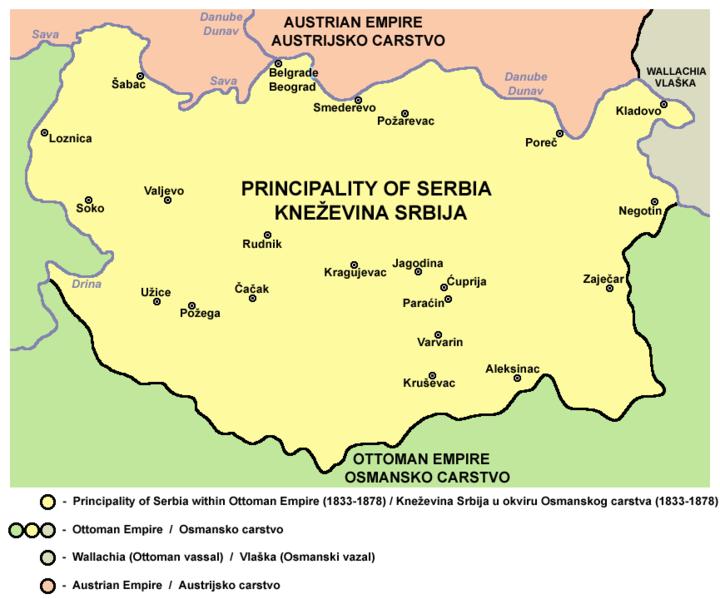 mapa srbije kladovo Кнежевина Србија 1833 1878   Порекло mapa srbije kladovo