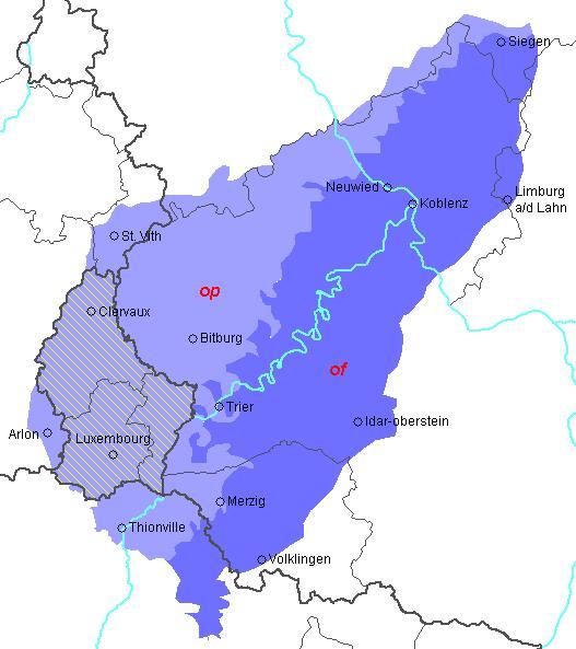 подручје распростирања мозел-франконских дијалеката