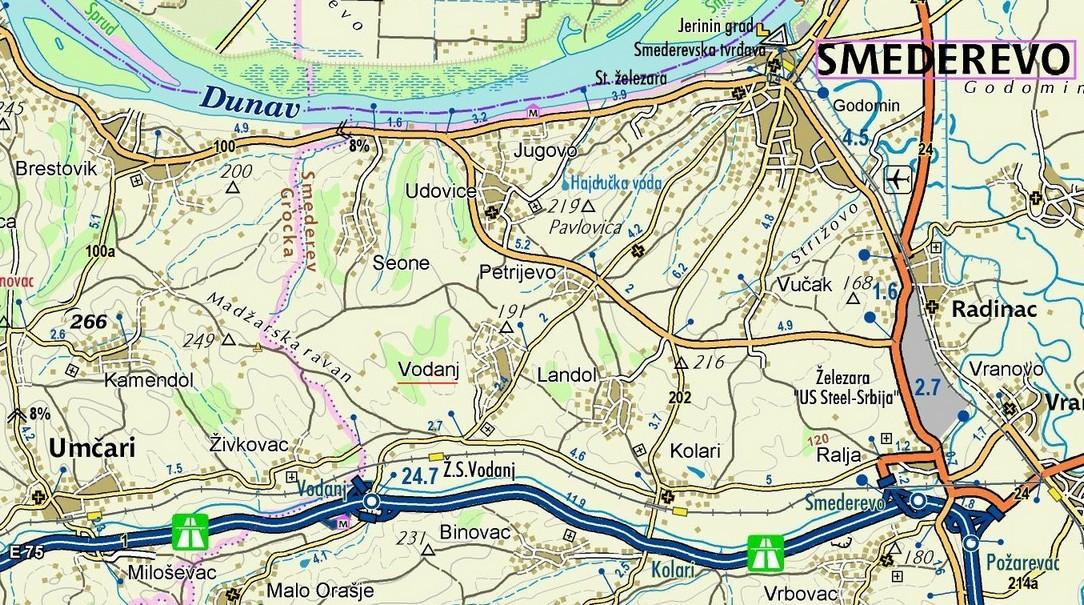 Vodanj, mapa