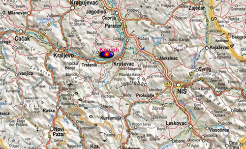 krusevac mapa Порекло презимена, село Коњух (Крушевац)   Порекло krusevac mapa