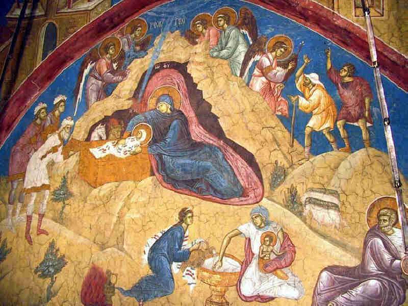 Рождество Христово, манастир Високи Дечани, фреска из XIV века