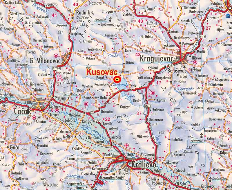 Kusovac,-mapa