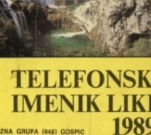 Ново у дигиталној библиотеци: Телефонски именик Лике 1989. године