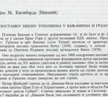 Ново у дигиталној библиотеци: Гојко Килибарда – О постанку неких топонима у Бањанима и Грахову